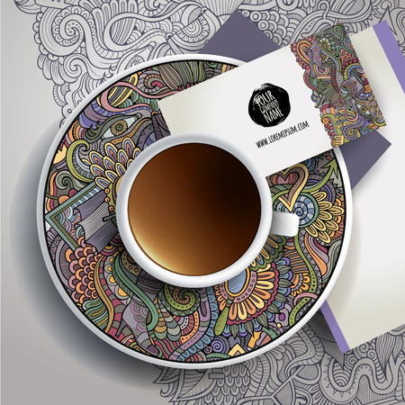 Vector Cup of coffee, business cards and hand drawn ornament on a saucer and background