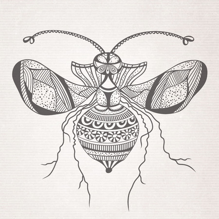 Vector abstract cartoon decorative insect butterfly sketch Vector