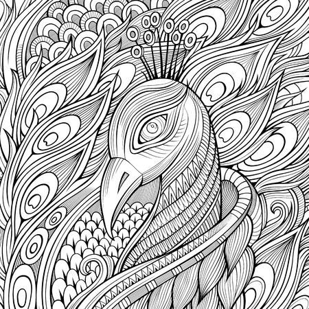 lijntekening: Decoratieve sier pauwvogel achtergrond. Vector illustratie Stock Illustratie