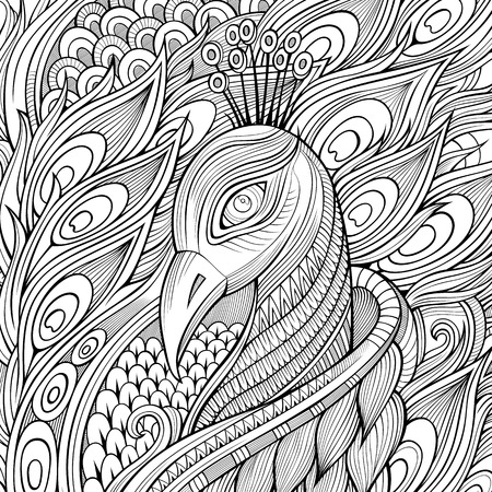 outlines: Decorative ornamental peacock bird background. Vector illustration