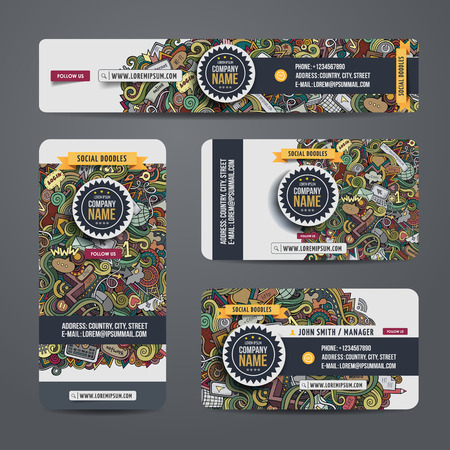 corporate social: Corporate Identity vector templates set with doodles social theme