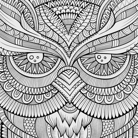 lijntekening: Decoratieve sier Uil vogel achtergrond. Vector illustratie