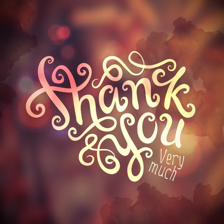 you: Thank You hand lettering - handmade calligraphy, vector Illustration