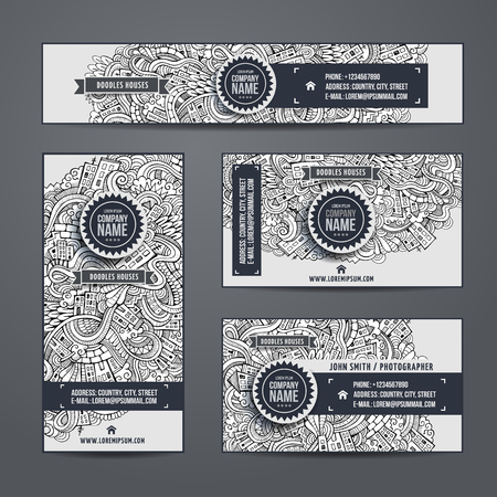 Corporate Identity vector templates set with doodles cartoon city theme