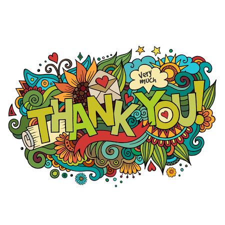 carta de amor: Gracias mano letras y garabatos elementos de fondo. Ilustraci�n vectorial