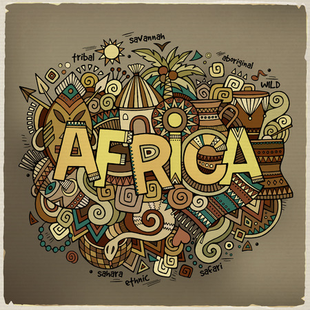 africa safari: Africa hand lettering and doodles elements background. Vector illustration