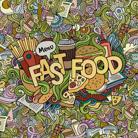 food and drink: Fast food hand lettering and doodles elements background. Vector illustration