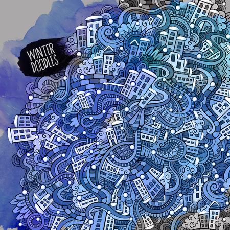 Vector doodles winter city Illustration
