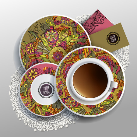 bezel: Vector Cup of coffee, business cards Illustration