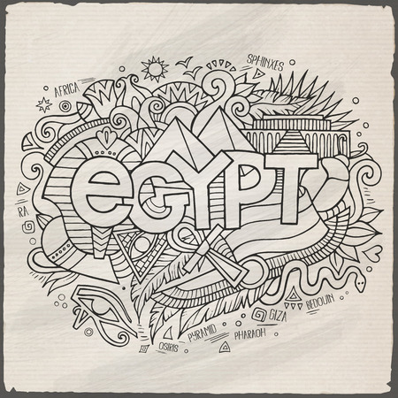 Egypt hand lettering and doodles elements background Vector