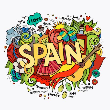 España elementos letras de la mano y doodles fondo