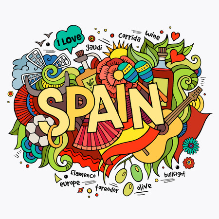national cultures: Spain hand lettering and doodles elements background