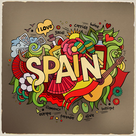 madrid spain: Spain hand lettering and doodles elements background