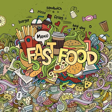 logo de comida: Letras de la mano Comida r�pida y garabatos elementos de fondo