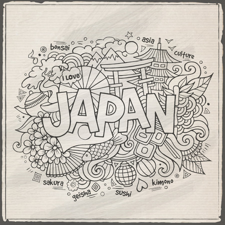 Japan hand lettering and doodles elements background Vector