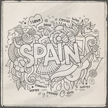Spain hand lettering and doodles elements background Vector