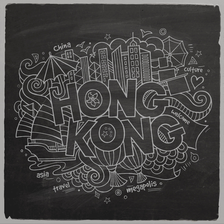 Hong Kong hand lettering and doodles elements background Vector