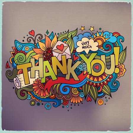 merci: Merci lettrage � la main et les �l�ments de fond griffonnages Illustration