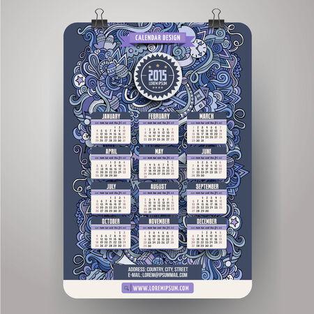 cartoon calendar: Doodles cartoon Calendar 2015 year design Illustration