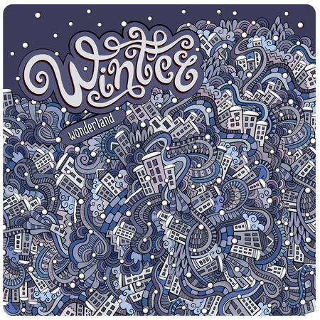 Vector cartoon winter town greeting card Vector