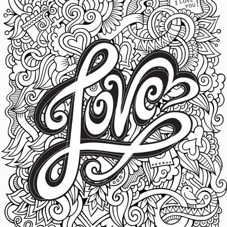 te amo: Amor elementos letras de la mano y doodles fondo