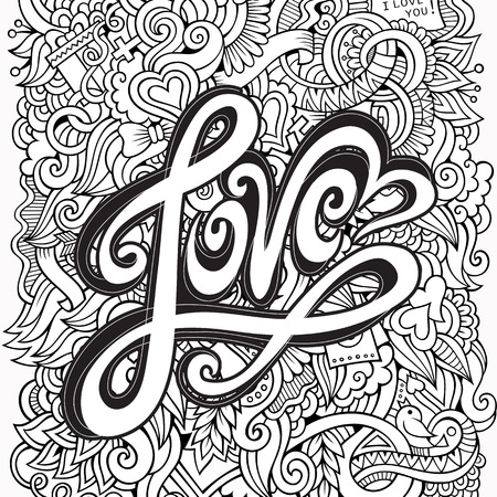 Love hand lettering and doodles elements background Banco de Imagens - 34439528