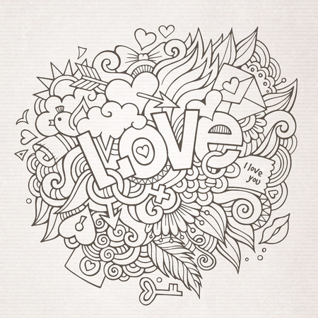 te amo: Amor boceto elementos letras de la mano y garabatos Vectores