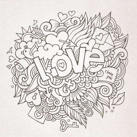 dessin coeur: Amour �l�ments de lettrage � la main et des griffonnages d'esquisse Illustration