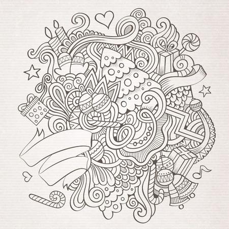 New Year sketch background 矢量图像