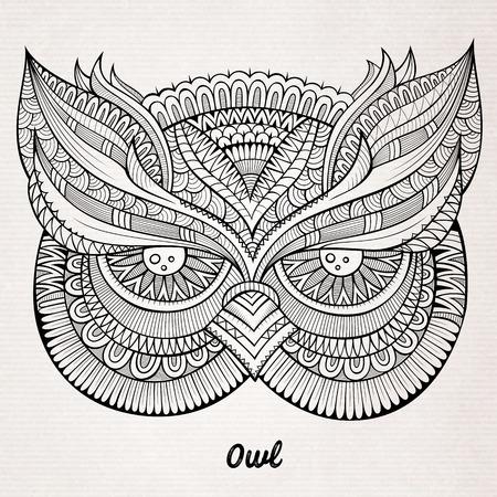 owl tattoo: Decorative ornamental Owl head