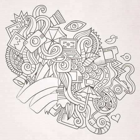 artistic photography: Photography doodles elements sketch background. Illustration