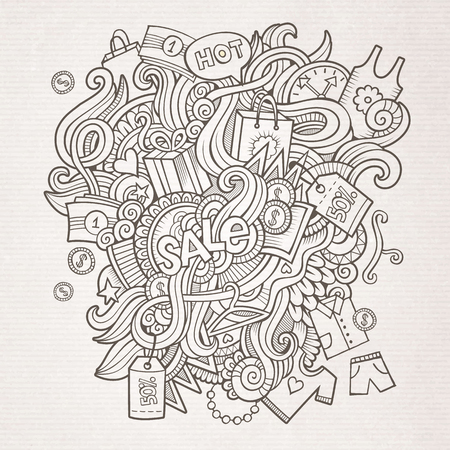 Sale doodles elements sketch background Vector