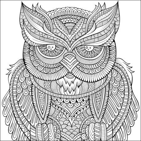 Decorative ornamental Owl background. Vector