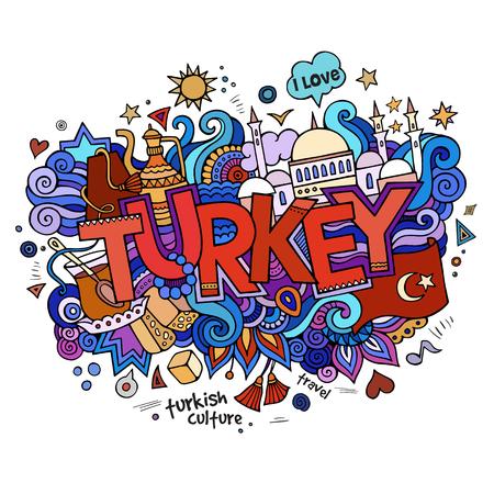Letras de la mano Turquía y garabatos elementos de fondo.