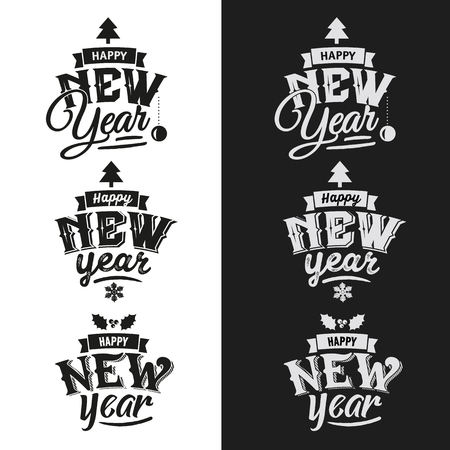 new year: Happy New Year hand lettering Set Of Typographic Design