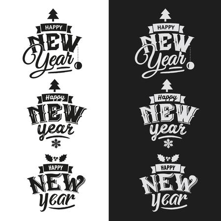 New Year: Szczęśliwego Nowego Roku ręcznie drukiem zestaw projektowania typograficznego