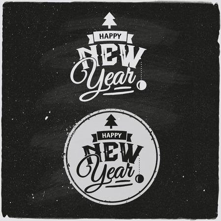 Happy New Year Set Of Typographic Design