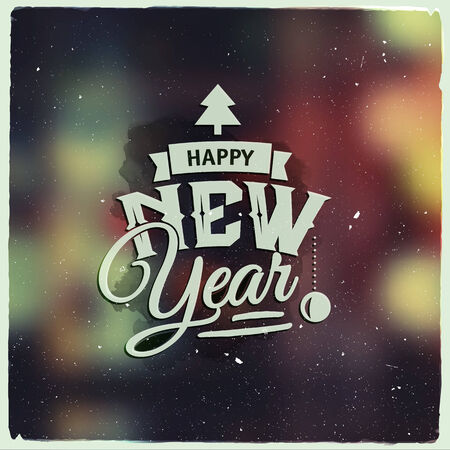 Happy New Year. Creative graphic message for winter design.Vector blurred background