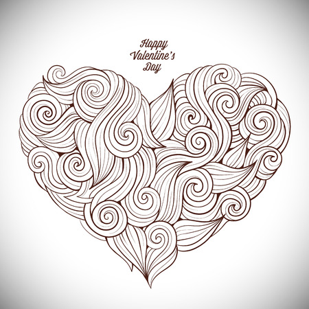 curled: Hand drawn curled vector heart
