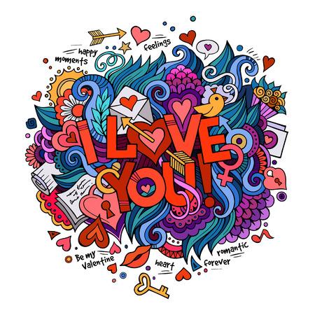 Ik hou van jou hand belettering en doodles elementen
