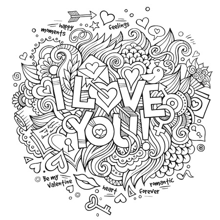 I Love You hand lettering and doodles elements
