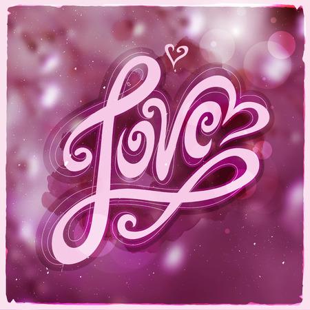 february 14: Love hand lettering - handmade calligraphy Illustration