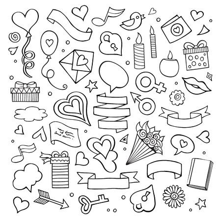 simbolo uomo donna: Set di icone di amore di doodle vettoriale
