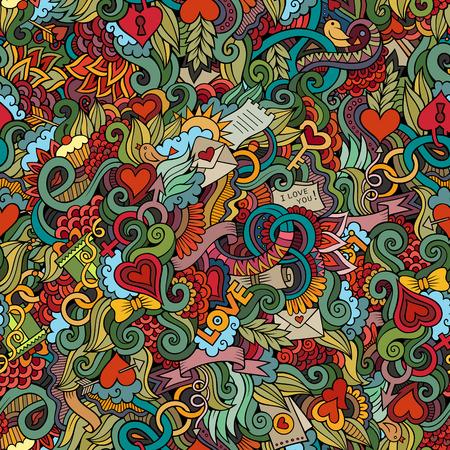 fantasy art: Doodles Love vector seamless pattern