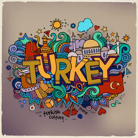 Turkey hand lettering and doodles elements background. Vector il Vectores