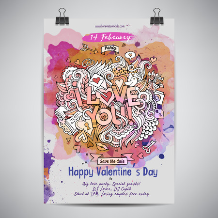 lovers: Vector love doodles watercolor poster design