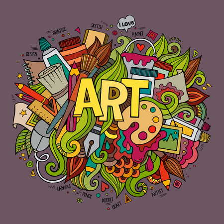 Art hand lettering and doodles elements. Vector illustration