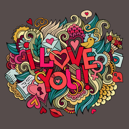 cartoon kiss: I Love You hand lettering and doodles elements Vector illustration Illustration