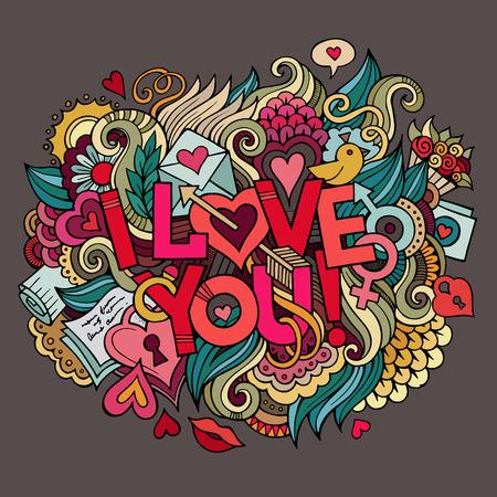 enamorados caricatura: Te Amo mano letras y garabatos elementos de ilustraci�n vectorial
