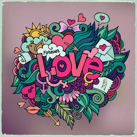 Love hand lettering and doodles elements. Vector illustration Illustration